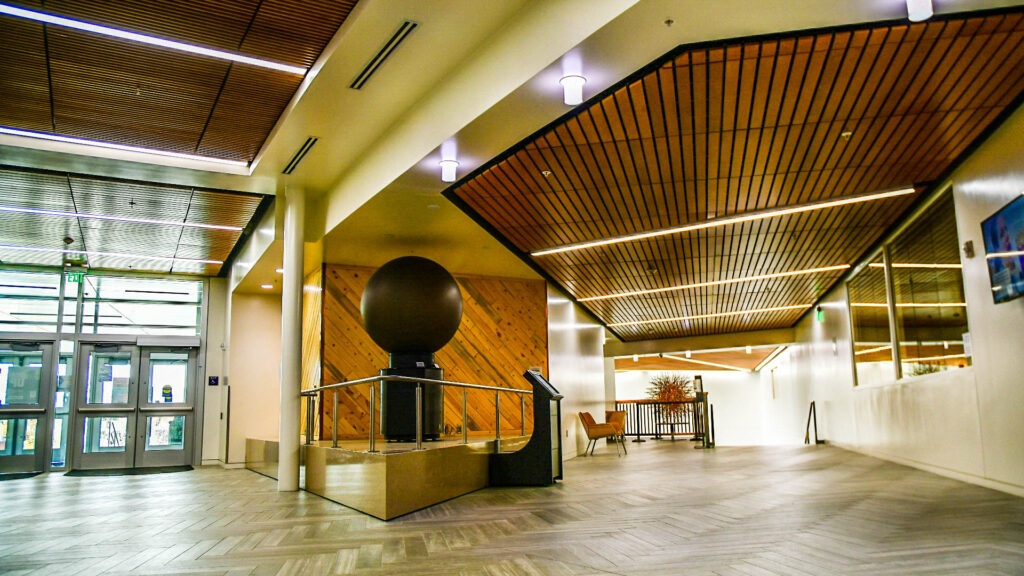 An animated globe can be seen in the Tracy Science Hall on Weber State University's campus. (Nikki Dorber/The Signpost)