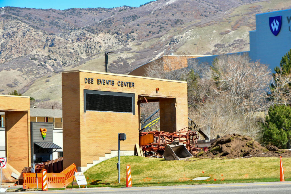 Demolition of the Dee Events Center Marquee began in March after years of remaining inoperable and outdated technology. (Nikki Dorber/The Signpost)