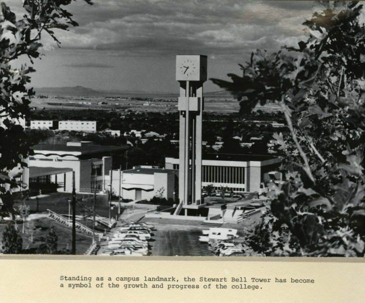 An archived photo of the bell tower on a campus unknown to most current students. (Stewart Library History Collection)