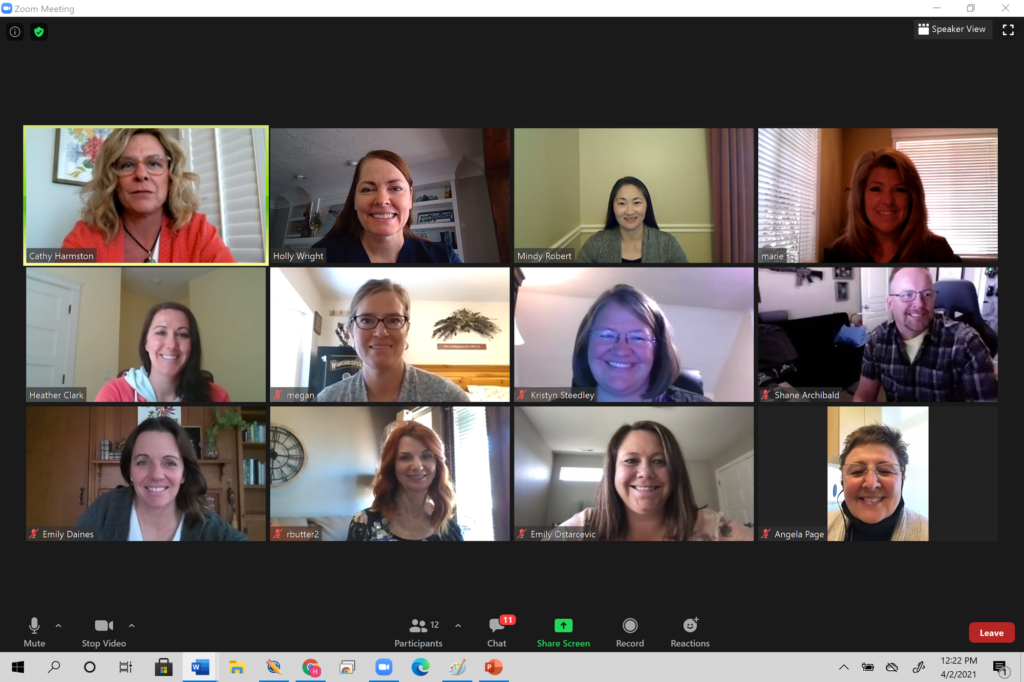 The first cohort graduating with the Doctorate of Nursing Practice as they get together on Zoom for presentations.