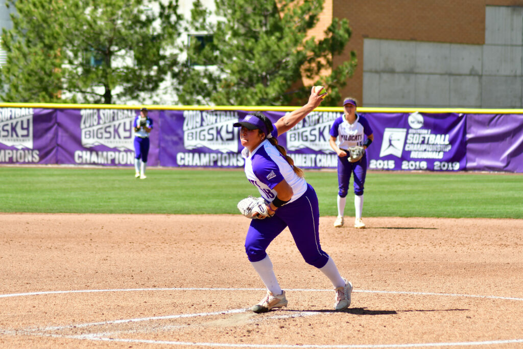 Mariah Ramirez, 18, pitches the ball to a player from Colorado State on April 3 in Ogden. (Nikki Dorber/The Signpost)