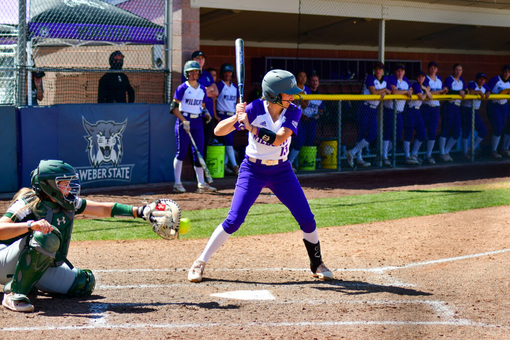 Makayla Donahoo, 13, up to bat during the game against Colorado State on April 3 in Ogden. (Nikki Dorber/The Signpost)
