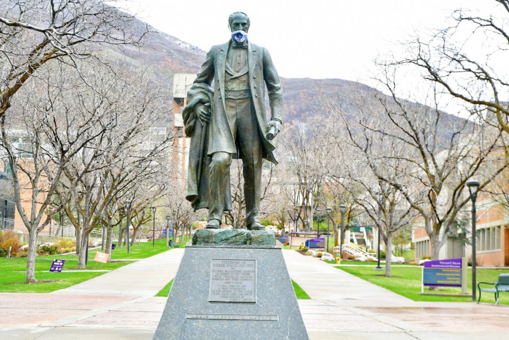 The statue of Louis F. Moench, who is the founding president of Weber State Academy, now called Weber State University. (Nikki Dorber/The Signpost)