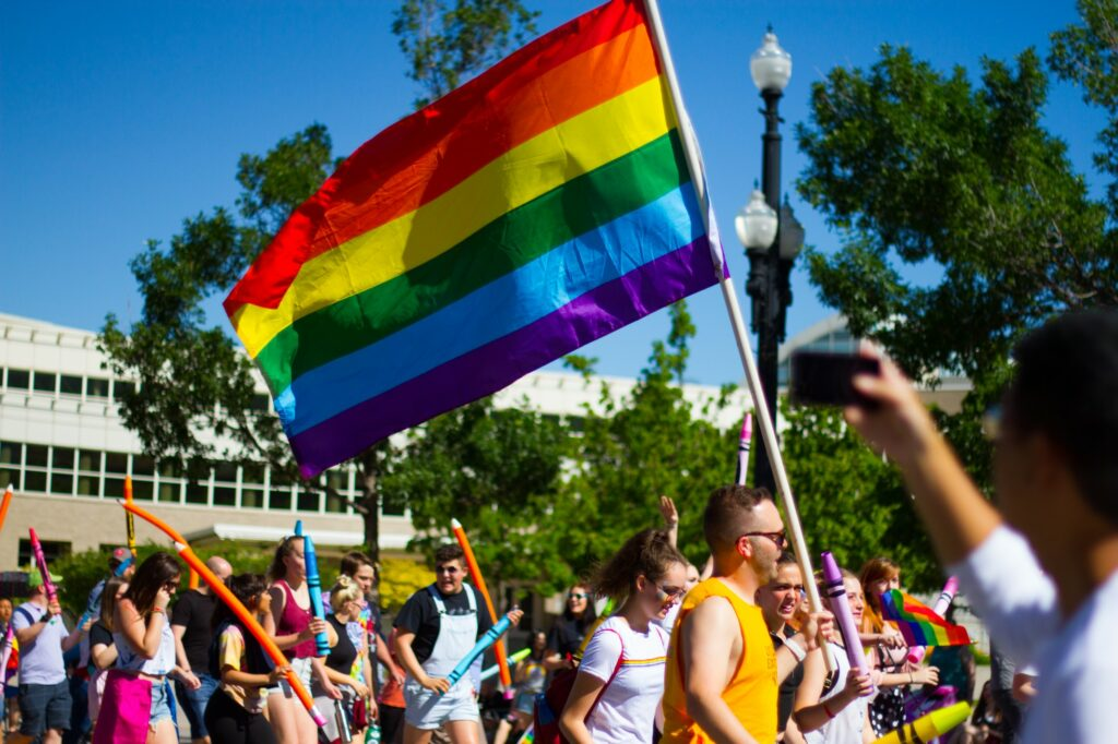 People gather in Salt Lake City, UT for the annual Pride Parade (Sara Parker / The Signpost)