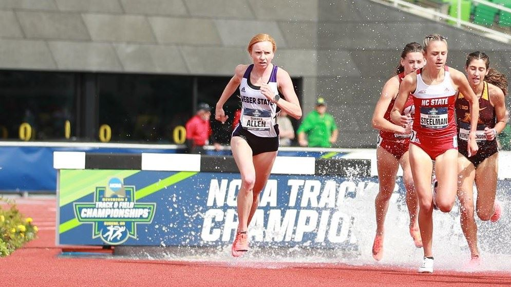 Summer Allen competes in the steeplechase at the NCAA Outdoor Track and Field Championships in Eugene, Oregon on June 12.