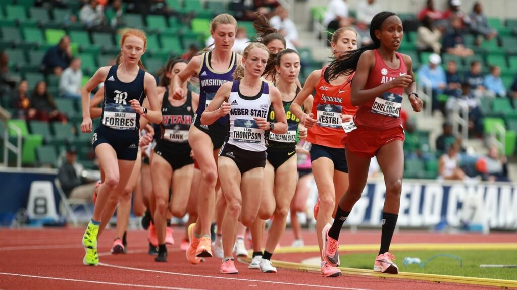 Lexie Thompson paces herself in the 10,000 meters at the NCAA Track and Field Outdoor Championships in Eugene, Oregon on June 12.