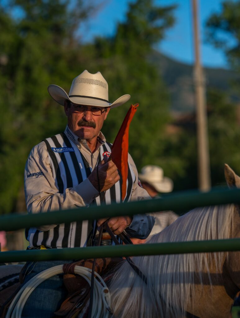 One of several rodeo judges waits for the start of the next event at the 2019 rodeo. (Signpost Archives)