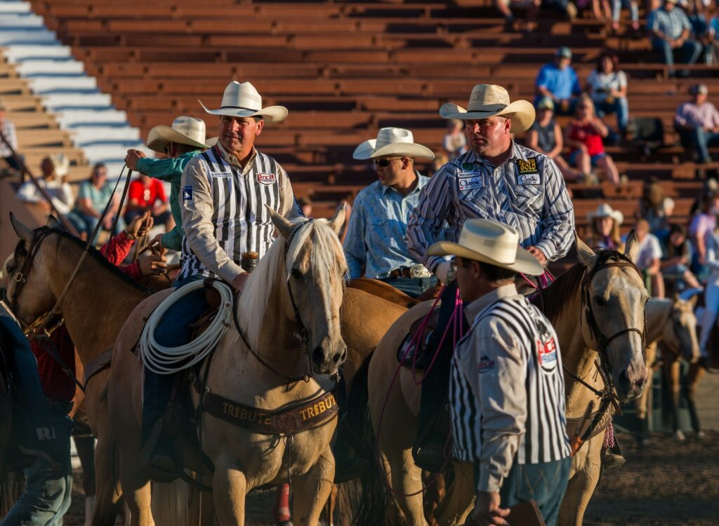 Judges ready themselves for the next contestant at the 2019 rodeo. (Signpost Archives)
