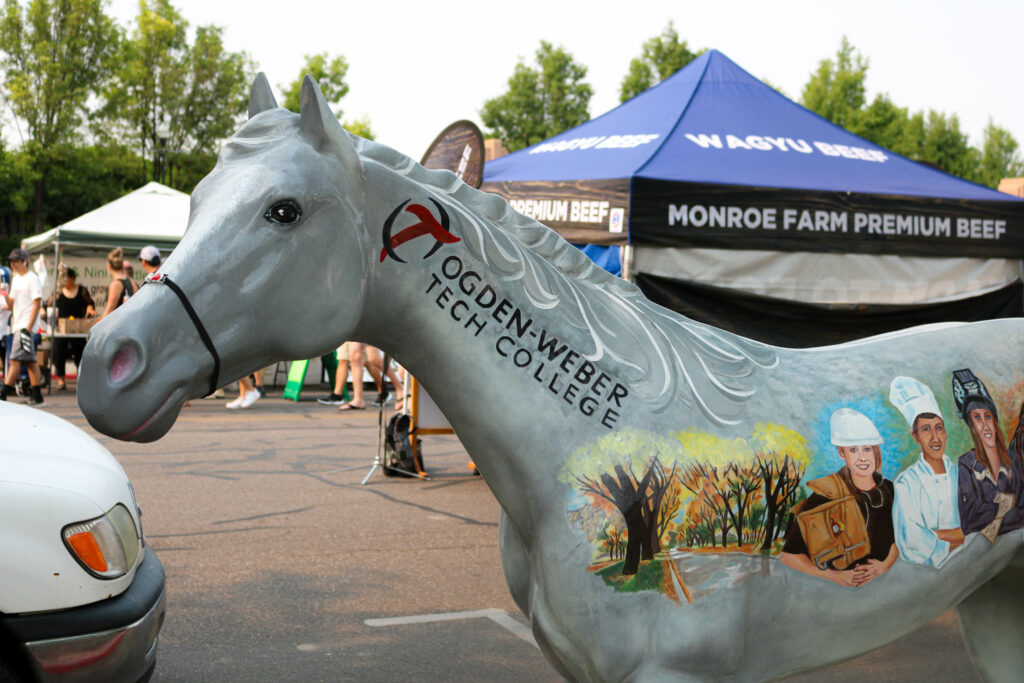 """""""Start Here Go Anywhere"""" is one of the 50 lifesize fiberglass horses located in Downtown Ogden as part of the """"Trail to Pioneer Days"""" extravaganza."""
