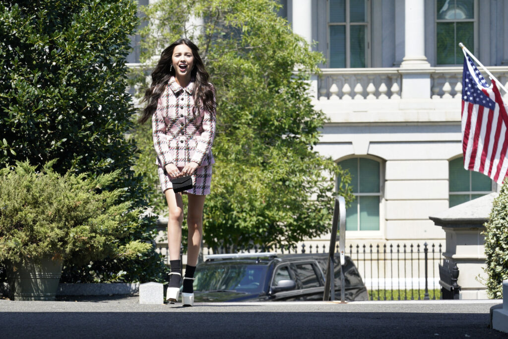 American actress Olivia Rodrigo arrives for a meeting with President Joe Biden and Dr. Anthony Fauci to promote vaccines at the White House on Wednesday, July 14, 2021.