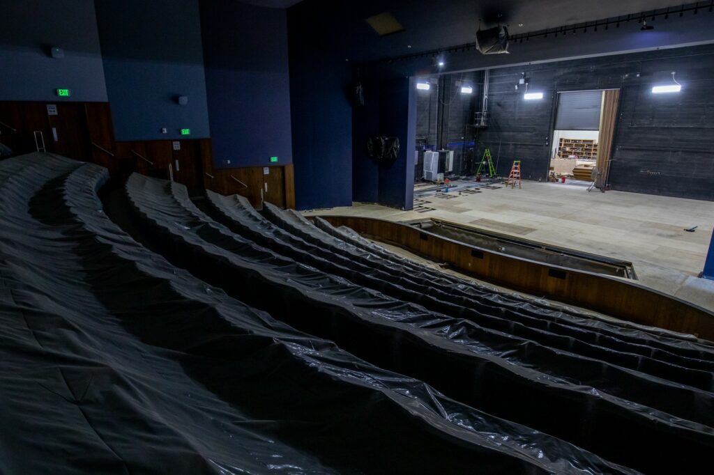"""The new, soft """"sprung floor"""" in the Allred Theater will be safer for performers, while the new sound system will make performances better for the audience."""