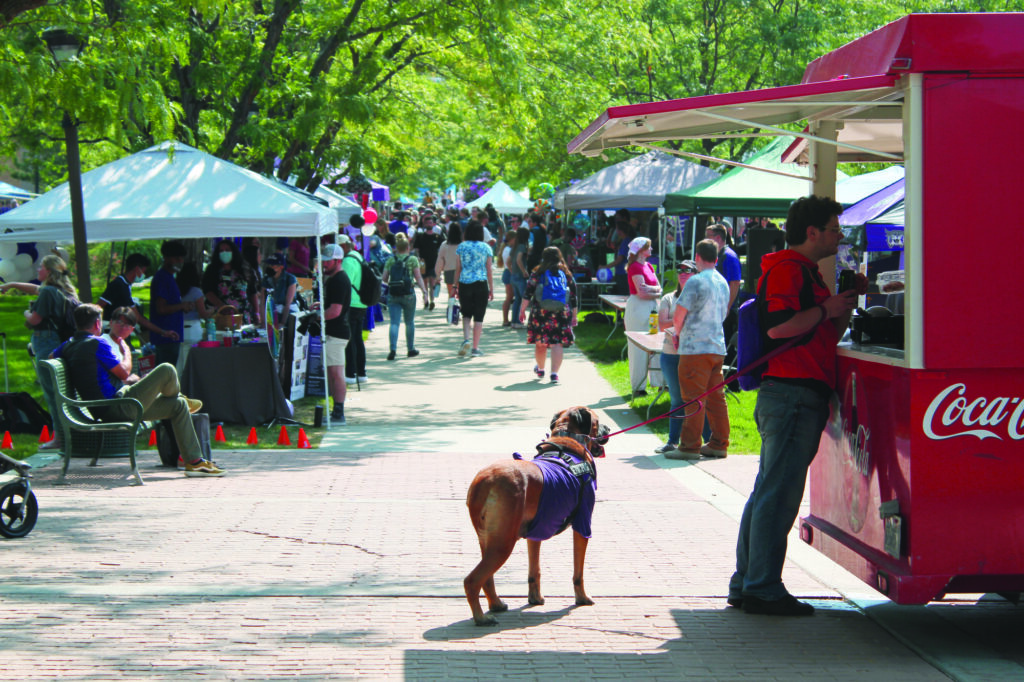 The plaza was littered in Block Party booths, food trucks and other student activities