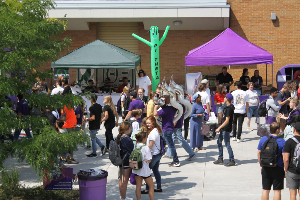 Weber State University students gathered outside of the plaza to partake in Block Party festivities.