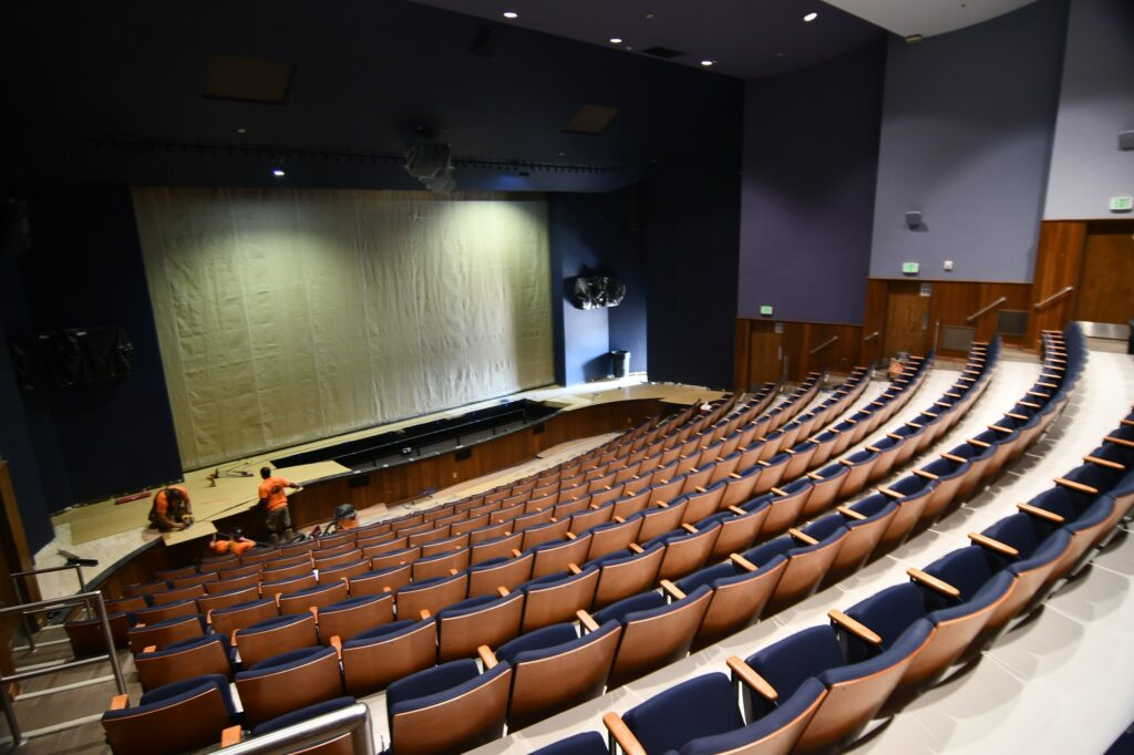 Renovations continue in the Val A. Browning building where performing arts and theater productions are held at Weber State University. The Austad Auditorium is receiving a new stage floor, pit cover for the orchestra and a much needed sound-system. (Nikki Dorber/The Signpost)