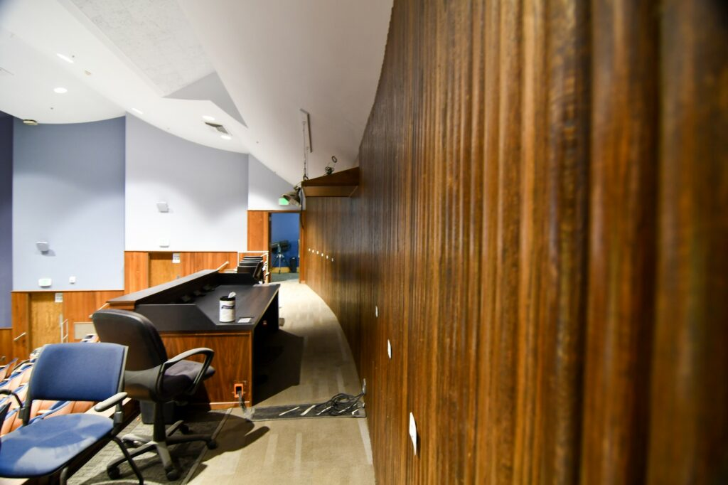 The Austad Auditorium, located in the Browning Center, has received a brand new sound-system and pit cover for the orchestra to go alongside their new studio. (Nikki Dorber/The Signpost)