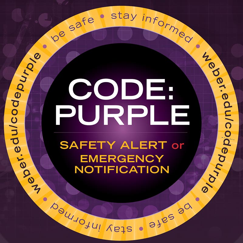 Code Purple, a resource for Weber State University students, alerts subscribers to potential hazards on campus to keep students safe. (Weber State University)