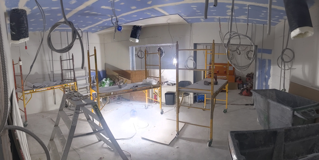 The new sound recording studio is still under construction, set to be finished later in September and opened in October.